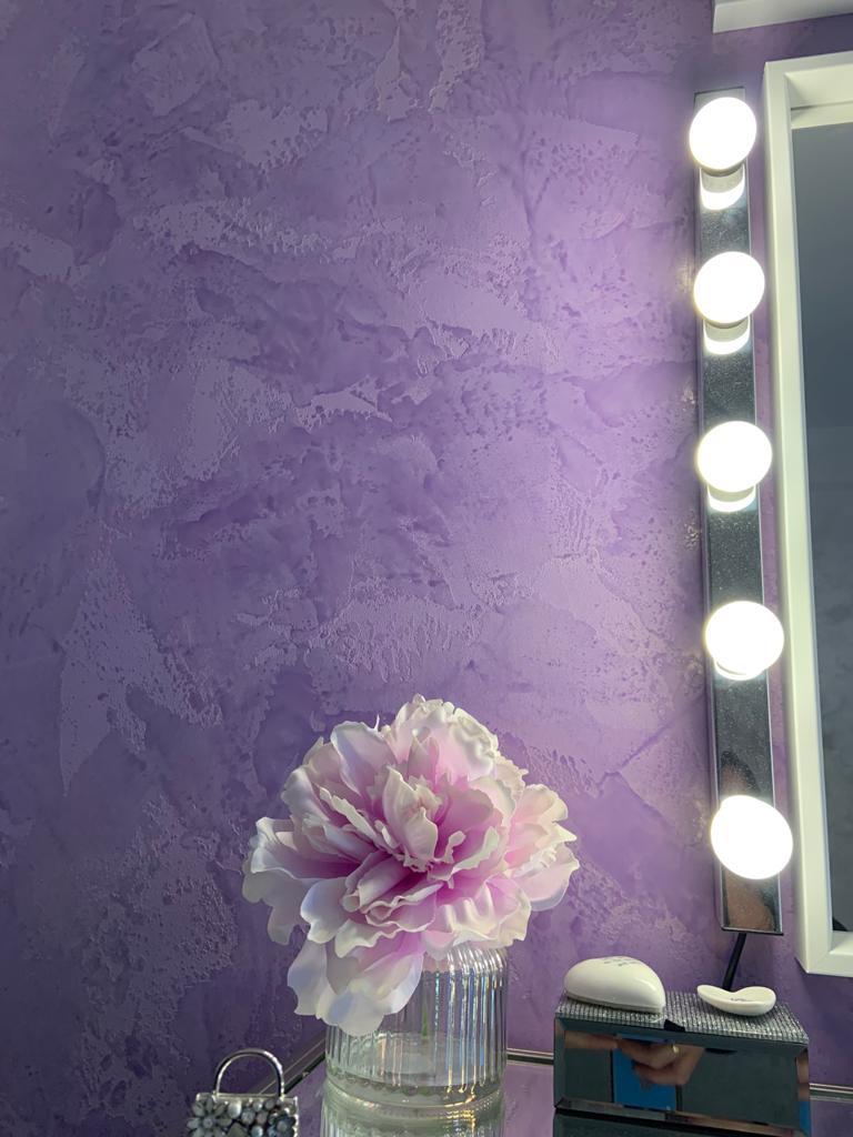 Ultra Finishes - Venetian Plaster Surrey luxury purple bedroom detail