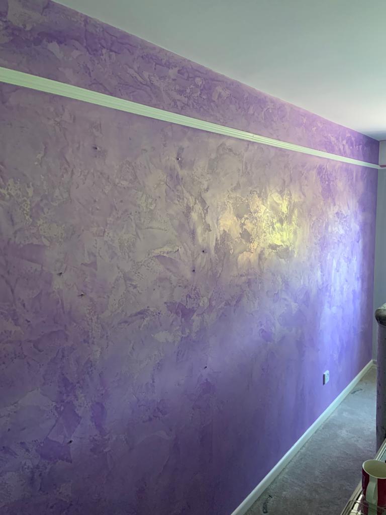 Ultra Finishes - Venetian Plaster Surrey luxury purple bedroom wall design