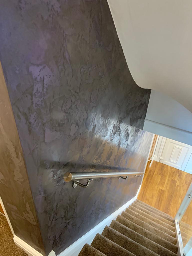 Venetian Plaster Surrey - Dark Venetian Plaster Staircase detailed wall design