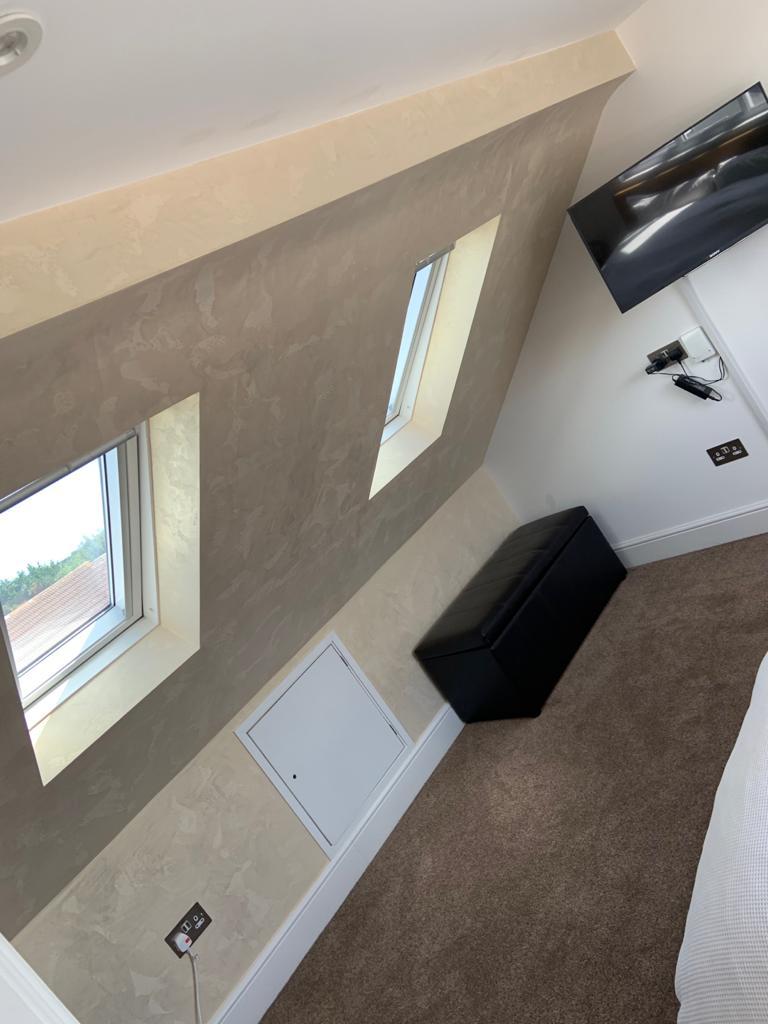 Venetian Plaster Surrey - Light luxury venetian polished plaster attic wall design