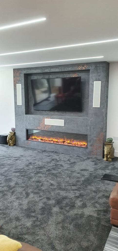 Venetian Plaster Surrey - Luxury silver gold detail fireplace - Ultra Finishes