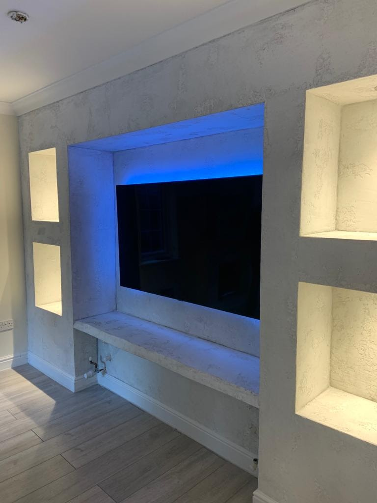 Venetian Plaster Surrey - grey fireplace - Ultra Finishes