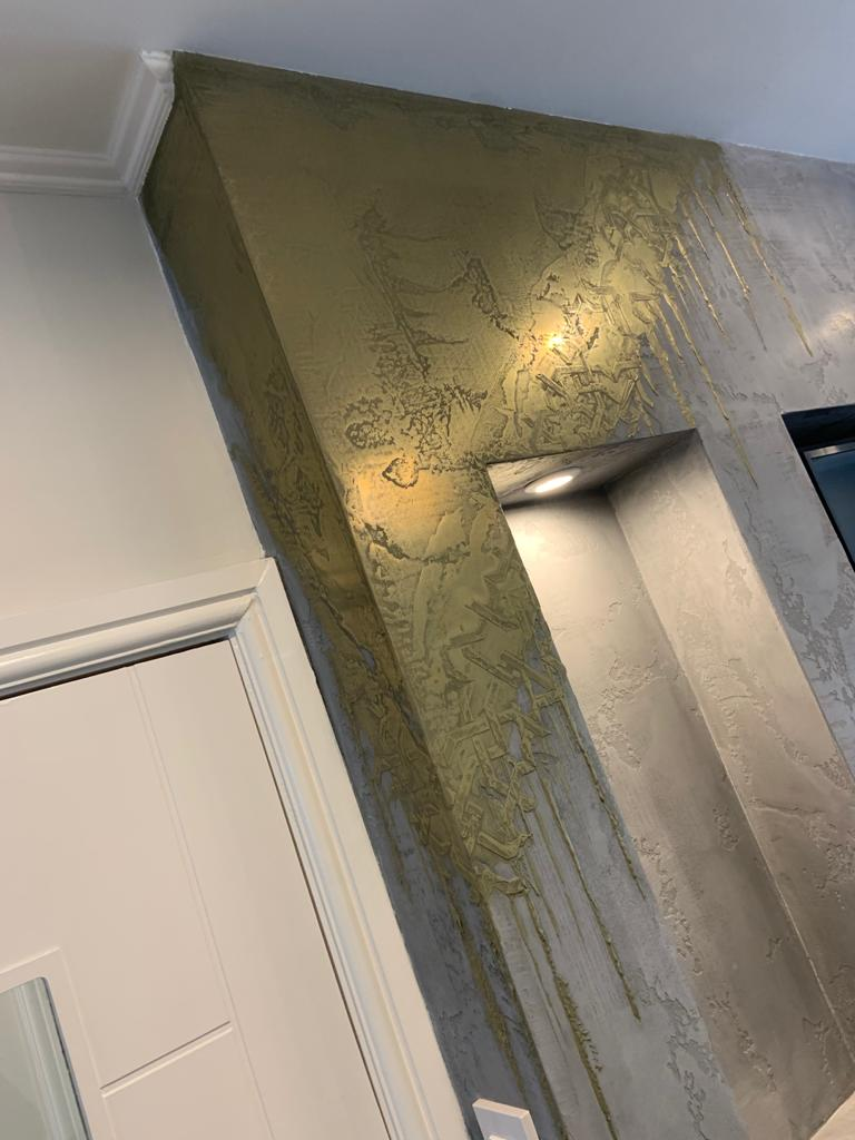 Ultra Finishes - Gold Venetian Fire Place details