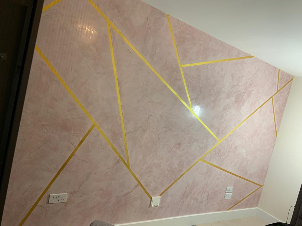 Ultra Finishes - Pink Feature Wall - Venetian Plaster Surrey