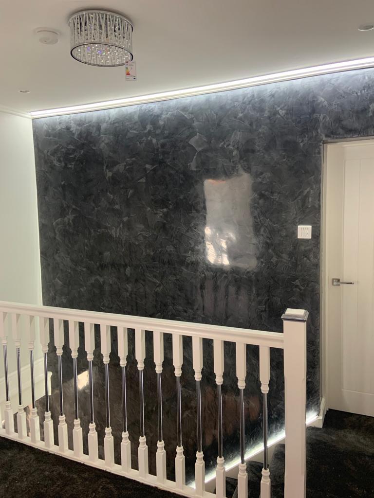 Ultra Finishes - polished plaster black staircase - Venetian Plaster Surrey