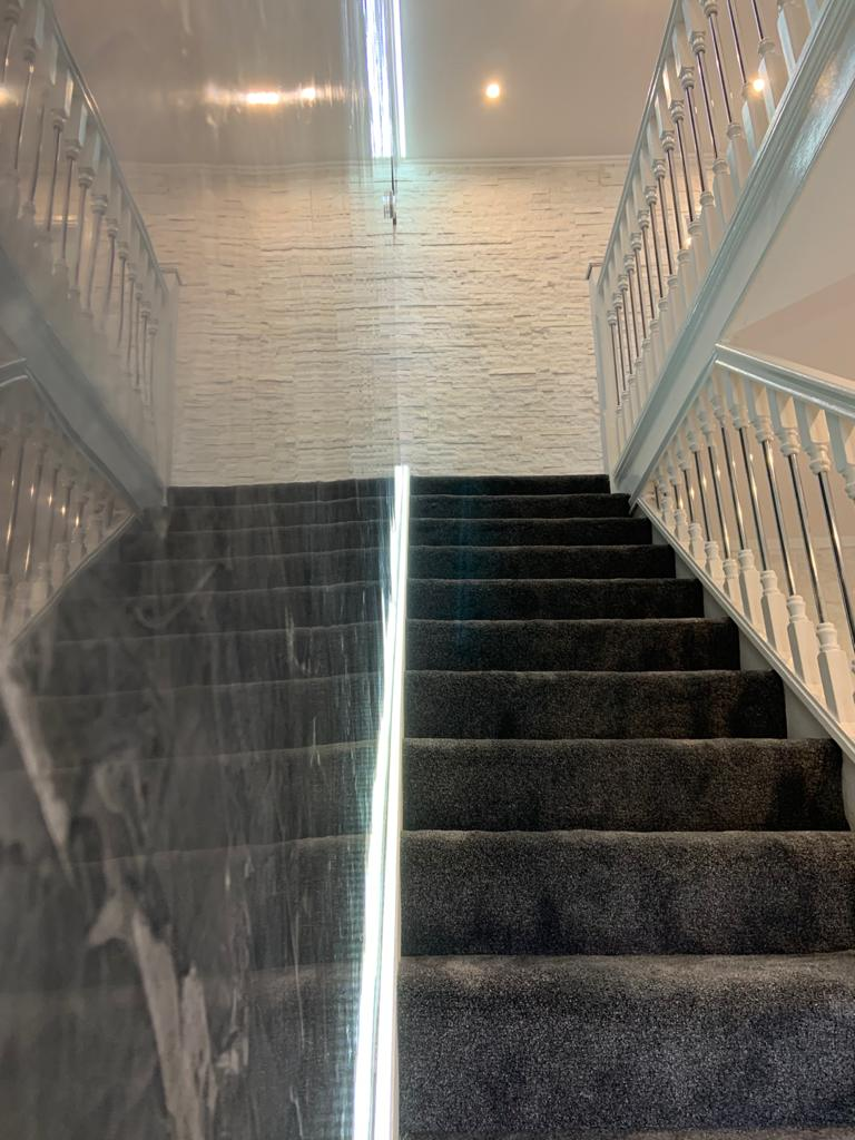 Ultra Finishes - polished plaster stair case - Venetian Plaster Surrey
